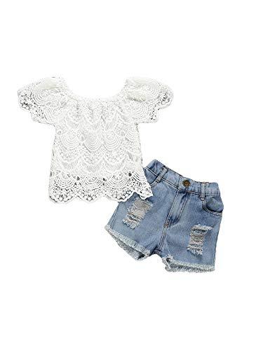 Geagodelia - Conjunto de ropa de 2 piezas para bebé y niña, camiseta de manga larga, camiseta de encaje, pantalón vaquero, escote de baloncesto para verano Blanco B 3-4 Años