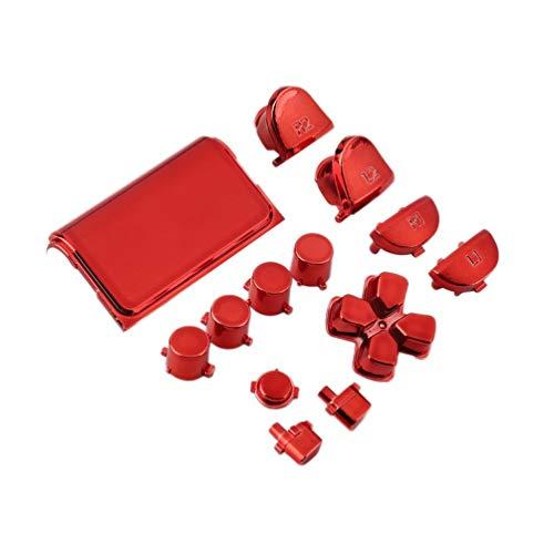 Kit de Juego Mod de reemplazo de botón Cromado Completo Adecuado para Playstation 4 Ps4 Controlador Joystick Videojuego Playstation (Rojo