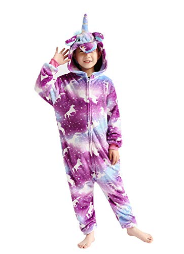Kids Animal Onesie Unicorn Pajamas Costume Hoodie Halloween Cosplay Purple 8-10T