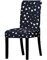 Stolsöverdrag, set med 2 svarta vita triangulära matbordsstolar elastiskt stolskydd, stretchigt avtagbart universellt stolskydd, moderna skydd skyddsfodral för stolar