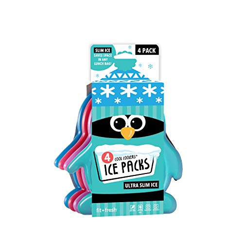 Fit + Fresh Cool Coolers Slim Ice Packs, Penguin Shaped, Long Lasting Ice Packs for Lunch Bags, Picnic Baskets, Coolers, and More, Set of 4, Multicolored