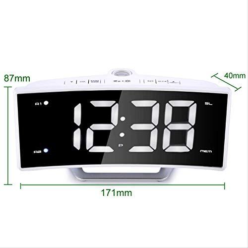 Duyifan LED elektronischer Projektionswecker FM Radiowecker Snooze-Anzeige Digitale Nixie-Uhr der Schlafzimmerdekoration wecken Uhr auf