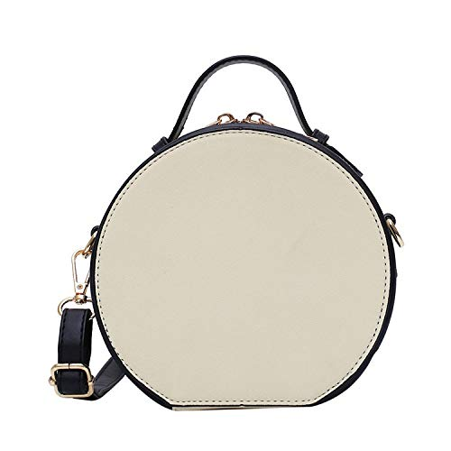 San-Hai Bolsas de Hombro para Mujer Bolsas de Mensajero para Mujer Bolsos de Mensajero Juvenil Handbag Impermeable Redondo Femenino Simple Bolsa de Cuero Negro San-Hai