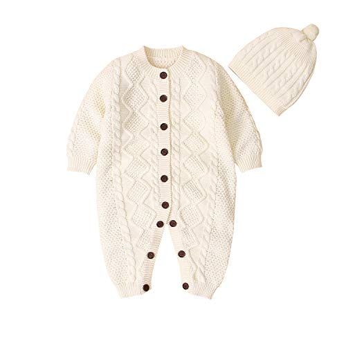CHRONSTYLE Baby Neugeborenen Baumwolle Strickpullover mit Hut Langarm Strampler Outfits Herbst Winter Kleidung Set (Beige, 0-3 Monate)