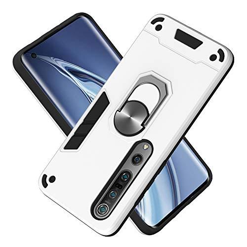Armure Coque Xiaomi Mi 10 5G/Mi 10 Pro 5G, Boîtier PC + TPU Double Layer Housse résistant aux Chocs avec Support à Anneau Rotatif à 360 degrés (Argent)