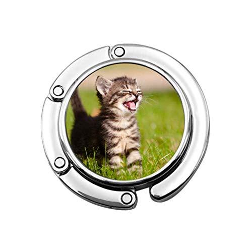 Adorable Meowing Tabby Kitten Outdoors Cute Purse Hanger Bag Hangers Ganchos Diseños únicos Sección Plegable Almacenamiento