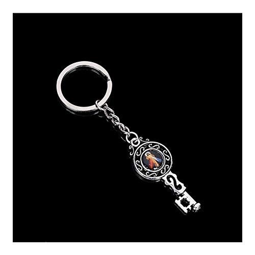 AdorabFruit Schlüsselanhänger Doppelseitige Schlüssel-Kreuz Jesus Schlüsselanhänger Männer und Frauen Mode Jesus Christ Jungfrau Maria Keychain Anhänger Auto Keychain Schmuck (Color : Ysk6662)