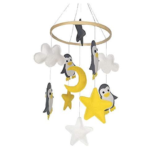 MHwan Carillones de viento bebé, móvil musical para cuna, Campanas de viento para bebé de fieltro duraderas, campanas de viento extraíbles para cuna, decoración colgante para cuna, cochecito, 20x60cm