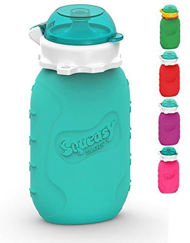 Squeasy Snacker, 180ml - Aqua - Wiederverwendbares Quetschie aus Silikon. Quetschbeutel zum selbst befüllen, BPA-frei