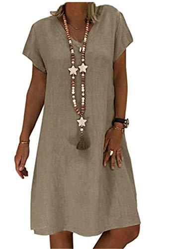 Moceal Sommerkleid Leinen Casualkleider Damen V-Ausschnitt Strandkleider Einfarbig A-Linie Kleid (braun, L)