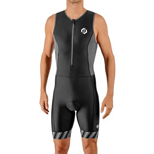 SLS3 Triathlon Suit Mens - Trisuit - Triathlon Suits Mens – Mens Triathlon Tri Suit FRT – Designed by Athletes for Athletes (Black/Gray Stripes, Medium)