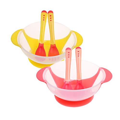 F Fityle 2 Juegos de Cuencos de Succión para Bebés para Niños Pequeños Y Cuencos de Alimentación de 6 Meses, Bocadillos Y Almacenamiento de Alimentos con 2 Cuc
