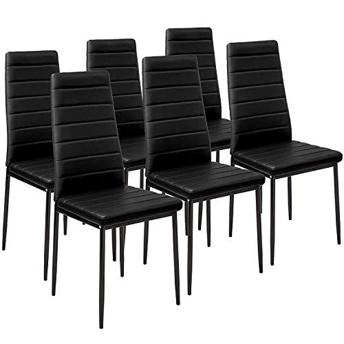 TENO Lot de 6 Chaise de Salle à Manger Chaise Scandinave (FR-Noir-Chaise6)