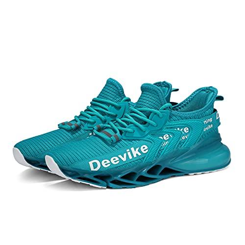 Deevike - Zapatillas de deporte para mujer, transpirables, zapatillas de aire, 36 – 42 EU, (3 cian blanco), 37 EU