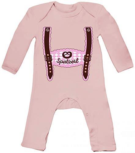 ShirtStreet Wiesn Baby Strampler Langarm Schlafanzug Jungen Mädchen Oktoberfest - Mädchen Lederhose Spatzerl, Größe: 3-6 Monate,Powder Pink