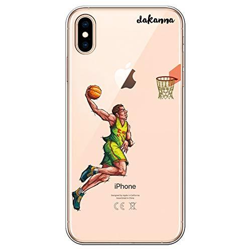 dakanna Funda para iPhone XS MAX   Jugador de Baloncesto   Carcasa de Gel Silicona Flexible   Fondo Transparente