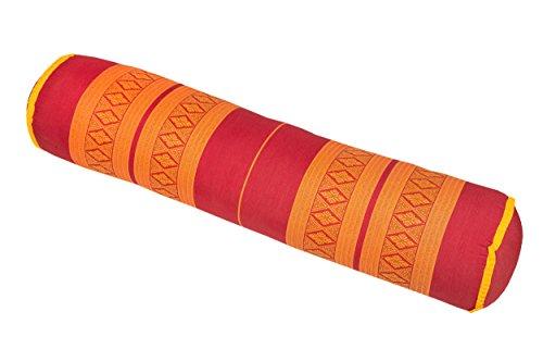 Handelsturm Thaikissen Rolle ca. 80x20 cm Kapok Yogarolle Kissenrolle für Massage oder Yoga Feste Nackenrolle rot-orange