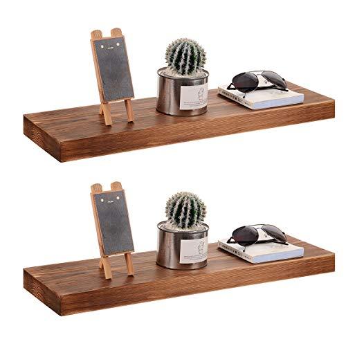 JUCT - Estantería flotante de madera de pino rústica de 61 x 17 x 1,2 pulgadas de madera maciza y hecho a mano, estante de pared de madera rústica juego de 2