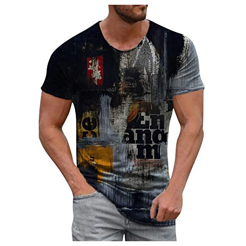 Camiseta Algodón Cuello Redondo para Hombre Camiseta Deportivo para Hombre Camiseta Manga Corta De La Moda De Hombre Camiseta De Elasticidad Primavera Y Verano Camisas Multi-Elemento