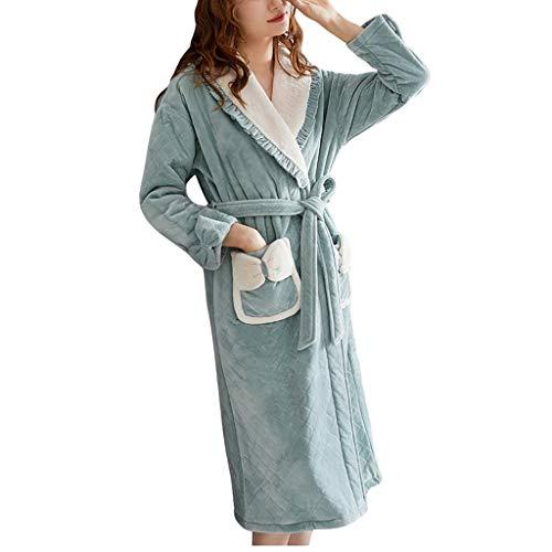 Loungewear - Albornoz de invierno para mujer, cálido, forro polar, suave, con bolsillos para dormitorio, hotel, baño, albornoces para mujeres (color: verde, tamaño: XL)
