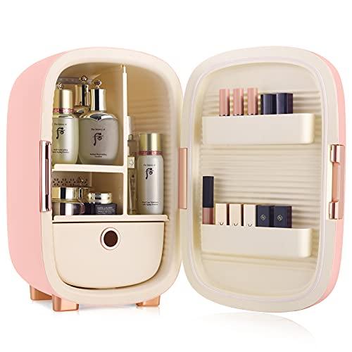 IKER 12 Liter Mini Fridge for Skin Care, Makeup Fridge for Skincare& Cosmetics, Portable Beauty Fridge Suitable for Women & Girls (Peach Pink)