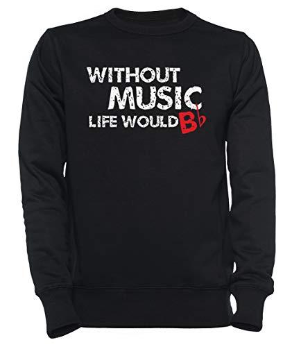 Rundi Without Music, Life Would B Flat Homme Femme Unisexe Sweat-Shirt Jersey Noir Taille XL - Women's Men's Unisex Sweatshirt Jumper Black