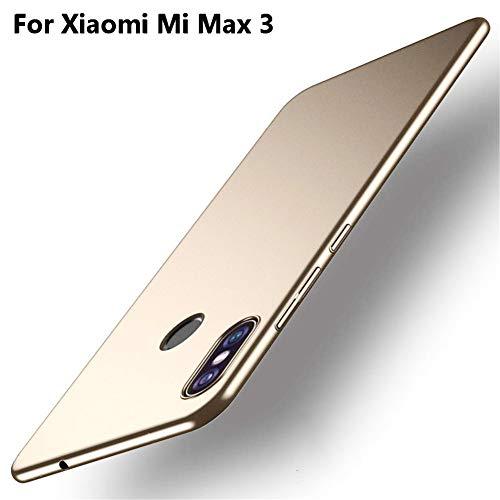 XunEda Funda Xiaomi Mi MAX 3 6.9 Ultra-Delgada Antideslizante Mate aAcabado PC Funda Protectora Dura Carcasa Case Cover para Xiaomi Mi MAX 3 Smartphone(Oro)