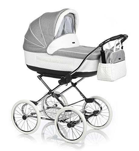 KINDERWAGEN BUGGY KOMBIKINDERWAGEN KLASSISCHER WAGEN RETRO MARITA (P-194 Grey- White Piqué Leather, 3in1)