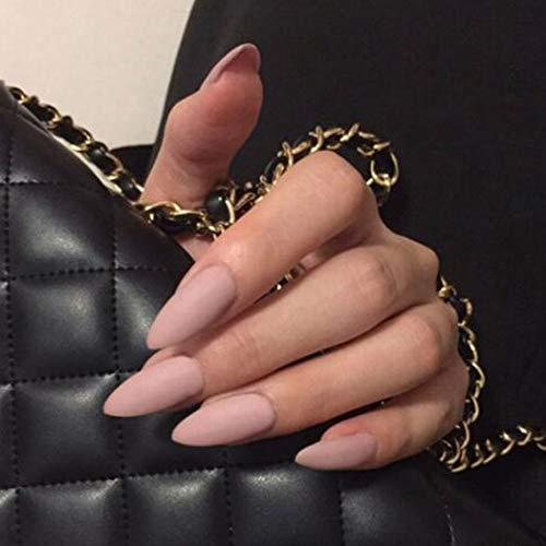 Zoestar Matte Fake Nails Stiletto Nude Full Cover Falscher Nagel Mittlere Presse auf Nägeln für Frauen und Mädchen (24 Stück)