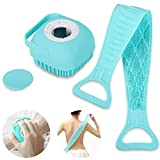 Anva 2 Pcs Combo Silicone Soft Bath Body Brush with Shampoo Dispenser Back Scrubber Deep Cleaning Gentle Massage Exfoliation Kids Men Women use in Shower Scrub (Multicolor)