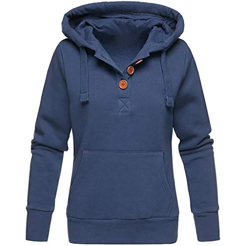 VEMOW Herbst Hoodies Damen Plus Size Langarm Casual Daily Sport Outdoors Freizeit Solid Damen Sweatshirt Kapuzenpullover Tops Shirt Winter Frühling(Blau,XXL)