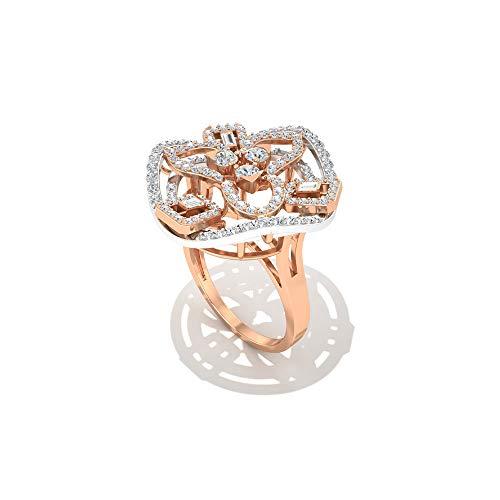 Anillo de compromiso de diamantes redondos con certificado I