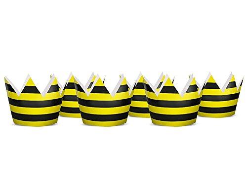 Partykronen Biene 6 Stück Ca.10cm Gelb Schwarz Geburtstag Fasching Karneval