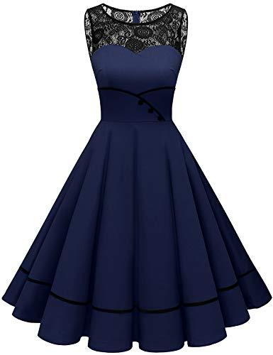 Bbonlinedress brautjungfernkleider Rockabilly Kleider Damen Kleider Damen Abendkleider Petticoat Kleid Hochzeit gast cocktailkleid Damen Vintage Kleid Navy S