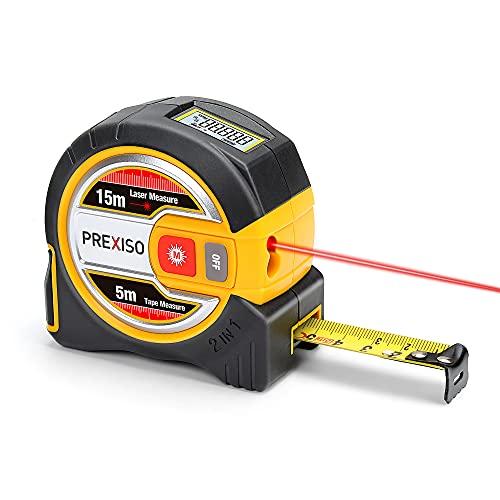 PREXISO Laser Tape Measure, 2-in-1 Laser Measure 15m & Tape Measure 5m, Laser Distance Measure with LCD Display, Nylon Coating Tape for DIY (Metric)