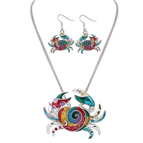 CHOUCHOU Colgante Pendientes Mujeres con Estilo 's Collar + aretes Conjunto de Colores de Esmalte de Cangrejo Colgante y Gotas for el oído Earbob Partido Colgante joyería y Accesorios