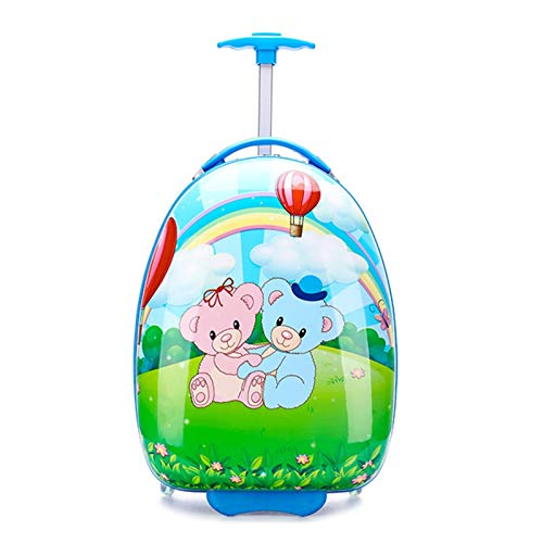 QWG Cartoon Rolling Luggage Trolley Case Children Travel Suitcase on Wheels 16/18 Inch Spinner Carry-Ons Boys Girls Wheeled Bag