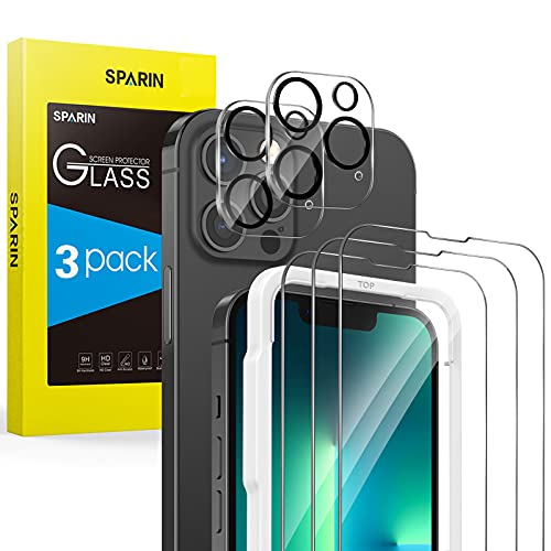 SPARIN 3 Pack Protector de Pantalla Compatible con iPhone 13 Pro Max 6,7 Pulgadas con 2 Pack Protector de Lente de Cámara, Cristal Templado con Marco de Alineación, Protección de la Cámara