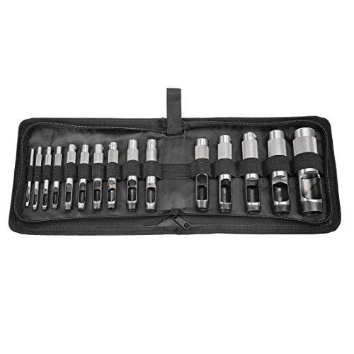 Sourcingmap - Juego de perforadoras de acero para cuero, reloj, cinturón, zapatos, tela, tela y tela 15Pcs 3mm to 25mm