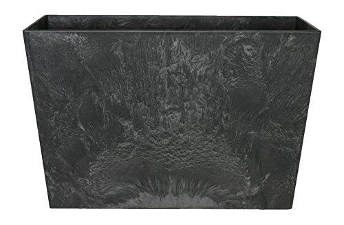 Artstone Pflanzgefäß Pflanzkübel Ella, frostbeständig und leichtgewichtig, Schwarz, 60x26x40cm