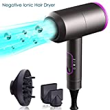 Ionic Hair Dryer, iMazer Professional Salon Negative Ionic Hair Blow Dryer 1800w Fast Drying with Diffuser & 2 Nozzles, 3 Heat Settings, 2 Speed Modes & One Key Cool Setting