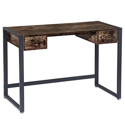 BOTONE Práctico escritorio, mesa de ordenador con dos cajones lisos con aspecto rústico de madera y robusto marco de metal negro; perfecto para oficina en casa, estudio (110x50x77cm)