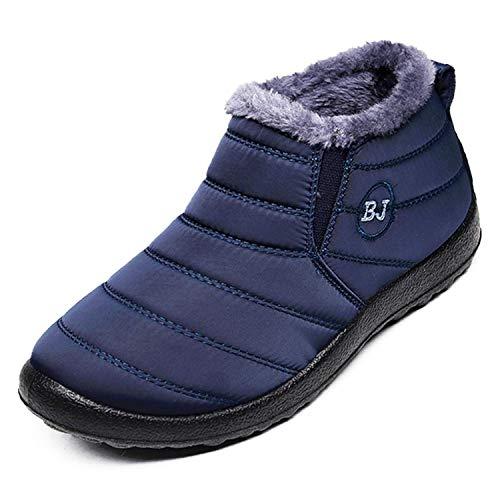 Botas de Nieve para Mujer Anti-Deslizante Forrado de Piel Botines Boots Invierno Zapatos Impermeable Botines Hombre,EU39=CN40