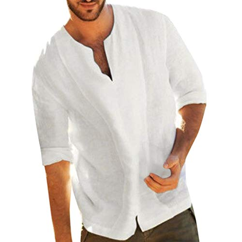 Camisa para Hombre Lino Blusa Casual de Manga Top Sin Cuello de Color Sólido Blusas Suelta Camisas de Trabajo Suave Cómodo Transpirable S-2XL (3XL, Blan)