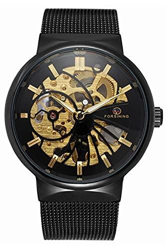 Reloj de pulsera mecánico de esqueleto para hombre de acero inoxidable fino pulsera de malla reloj esqueleto Steampunk