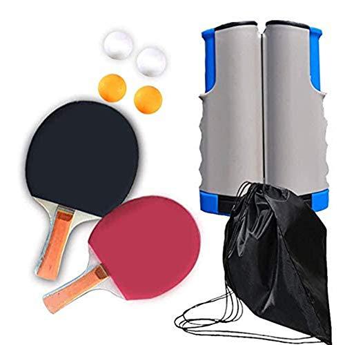 WLKQ Tischtennis Set Indoor Outdoor, Schläger, Ping Pong Set mit 2 Tischtennis Schläger | 4 Tischtennis Bälle | 1 Einziehbare Tischtennisplatte und Beutel