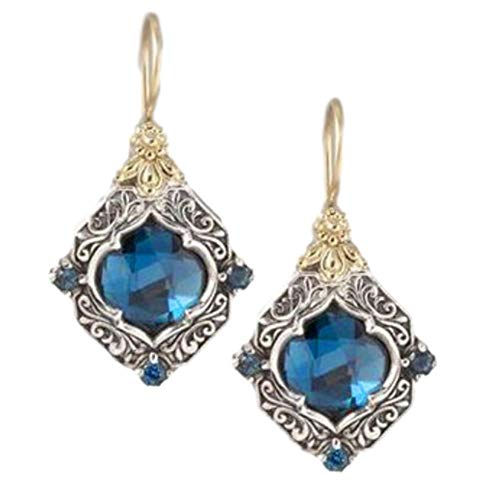 Vintage Rhombus Blue Sapphire Earrings Women Valentine's Day Mother's Day Gift by ShenTan