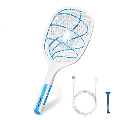 MIGICSHOW Racchetta Elettrico Zanzare, Racchetta Ricaricabile USB Racchetta Fulmina Ammazza Zanzare LED Ultra-Luminoso Parassiti Repellente Insetti Mosquito Killer
