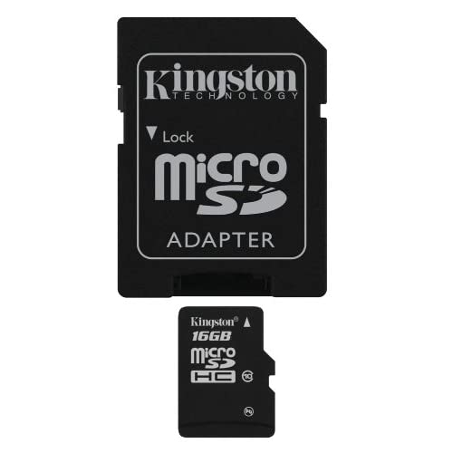 Kingston SDC10/16GB Carte micro SDHC/SDXC Classe 10 UHS-I de 16Go vitesse minimum de 10MB/s avec adaptateur SD