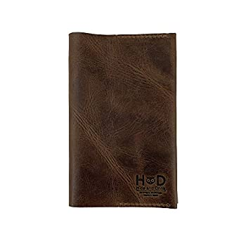 Leather Field Notes Cover Wallet Case  3.5 x 5.5 in  Journal Cover Cards Slot / Refillable Travelers Pocket Notebook Handmade by Hide & Drink  Bourbon Brown